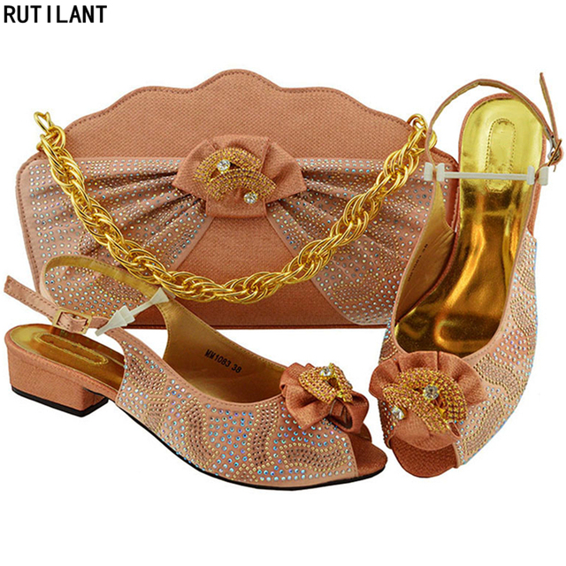 New Arrival Italian Shoes with Matching Bags Set Decorated with Rhinestone Women Shoes and Bag Set In Italy Pumps Women Shoes