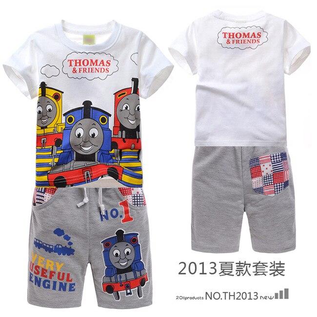 Thomas train set boys summer clothing set kids short sleeve t shirt jacket hoodie pajamas old thomas and friends train clothes