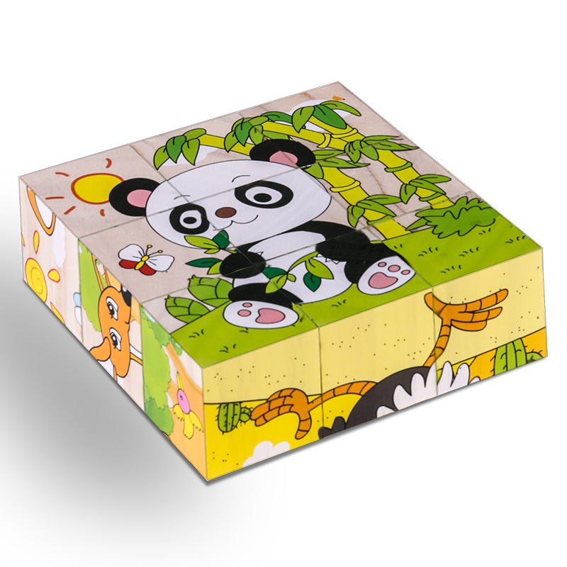 Six-face Picture Wooden Jigsaw 3D Puzzle Toys Children's Early Educational Toys Cube Jigsaw Puzzle 10 Types available