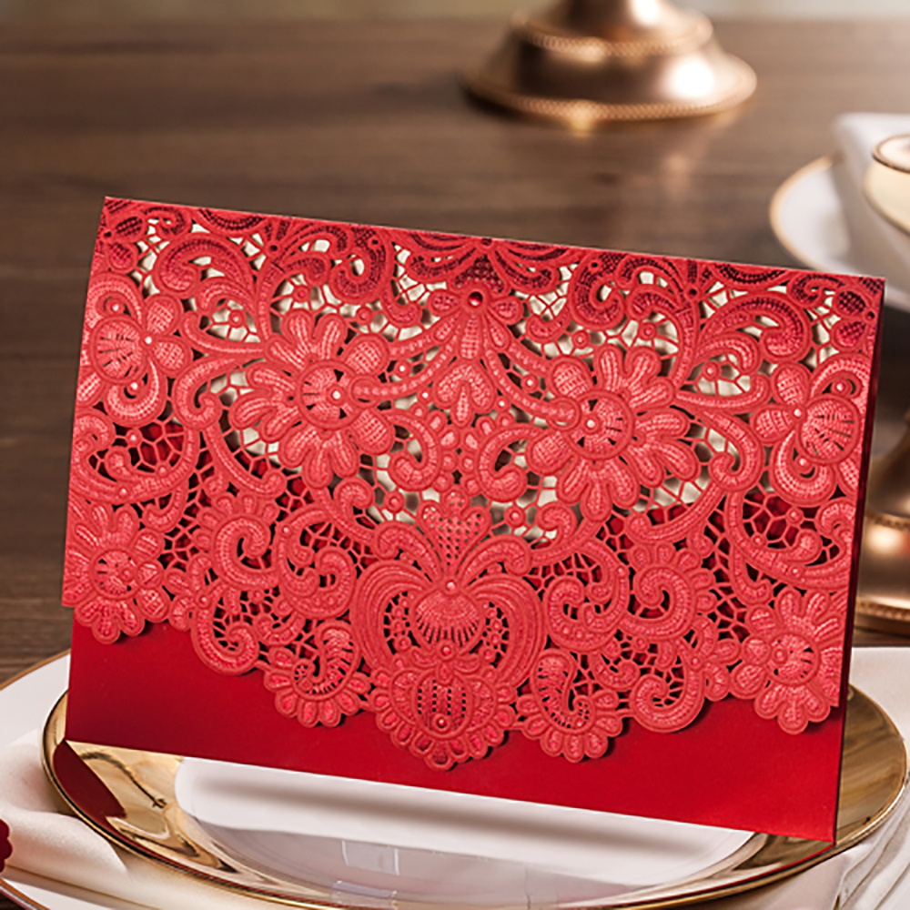 4 Color Design Floral Embossing Elegant Wedding Invitations Laser ...