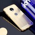 Chapeamento de Metal de Alumínio Bumper + PC Escovado Acrílico 2em1 Anti-knock case para motorola moto z play móvel do telefone 5.5 de polegada cobrir