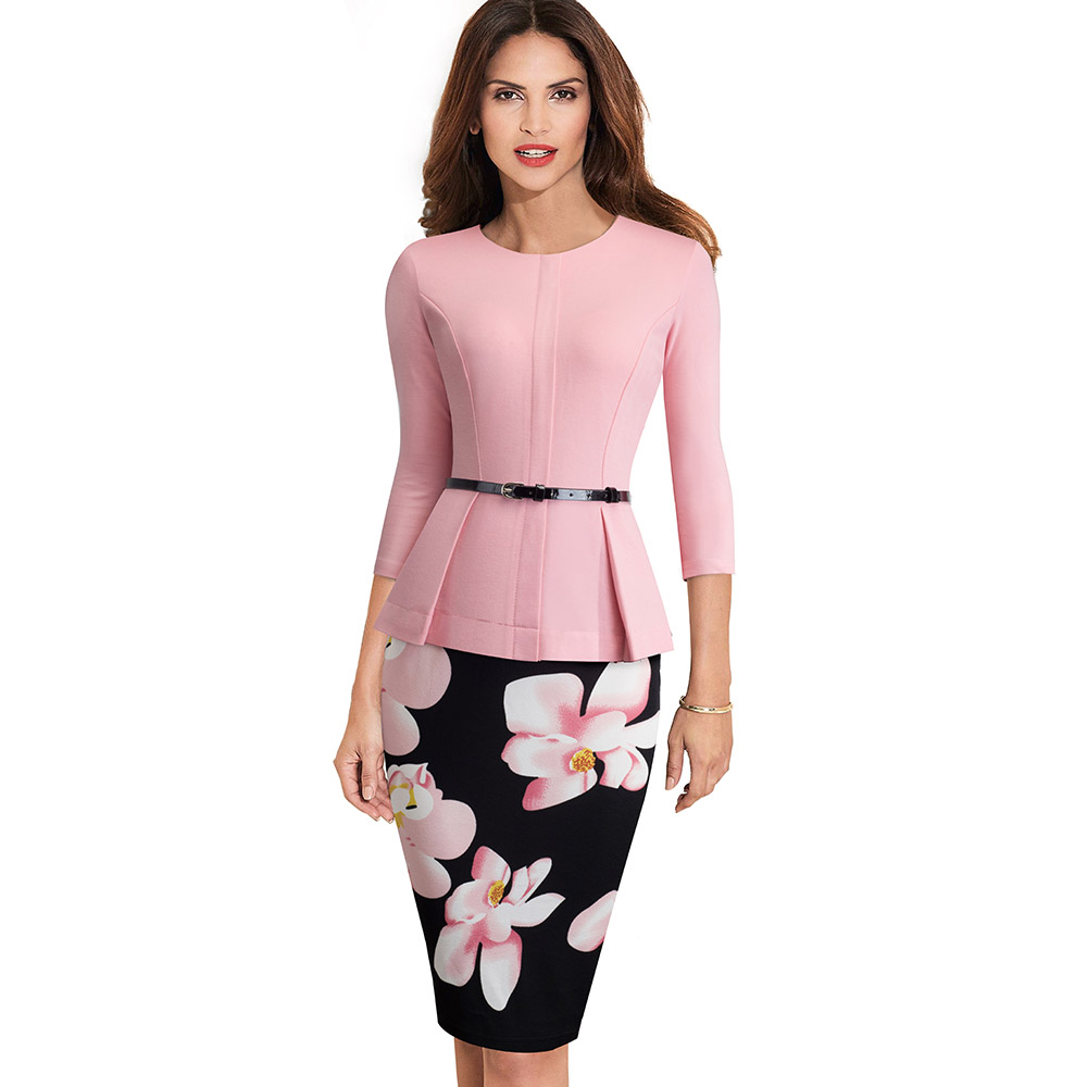 4b9ef7bc5e8 ... Nice-forever Vintage Elegant Wear to Work with Belt Peplum vestidos  Business Party Bodycon Office