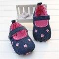 Zapatos de bebé de La Muchacha Azul Marino Denim Jeans de Encaje Fruncido Bordado Suave Zapatos Caminando Zapatos Del Niño de Prewalker Infantil Menina 0-18 M