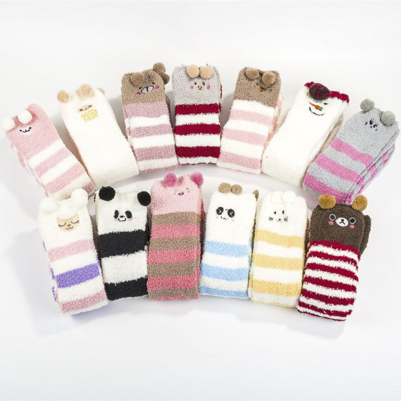 Winter Warm Long Stocking Cute Striped Knee Stocking Women Velvet Thigh High Over The Knee Stockings For Girls Animal Stocking