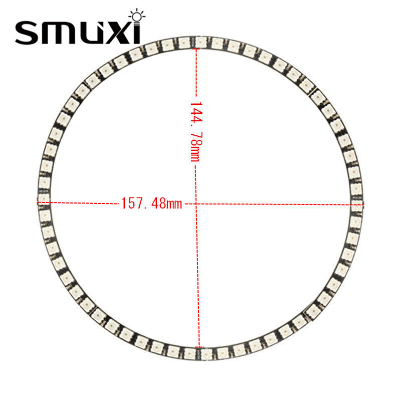 Smuxi Ring RGB LED Lamp Panel Wall Clock 60WS2812 5050 SMD RGB LED Light Panel for Arduino 5V 1A keyes 5050 rgb led module for offical arduino products red silver