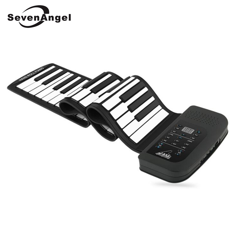 61 Keys 128 Synthesized Tones Electronic Piano  Silicon Roll Up Piano 100 Preset Rhythms with Soft Keyboard for kids education