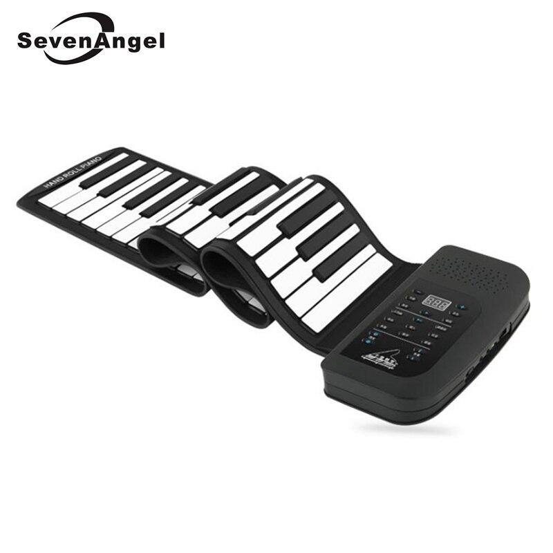 61 touches 128 tons synthétisés Piano électronique silicone retrousser Piano 100 rythmes préréglés avec clavier souple pour l'éducation des enfants