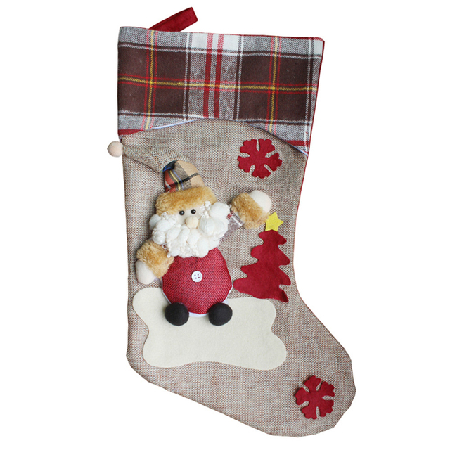 large christmas stockings gifts high grade cloth art the old hang xmas gift decoration for tree - Large Christmas Stocking