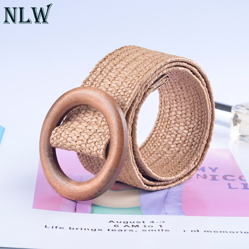 NLW Casual Female   Belt   Accessories Wooden Button   Belt   For Women Elastic Straw   Belt   Decoration for Dress   Belt