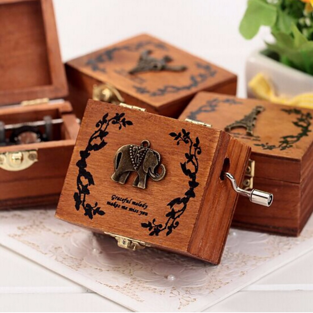 New Vintage Wood Music Box Exquisite Crank Music Box Retro For Beautiful Decorative Patterns 4 Different Patterns