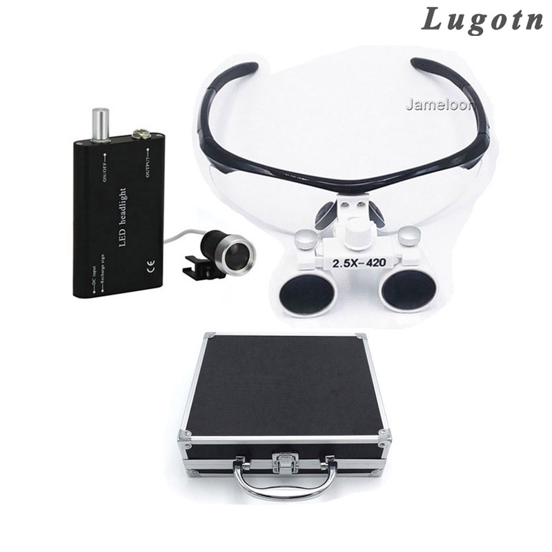 Metal box 2.5X magnifying surgical glasses medical dental operation loupe dentist magnifier enlarge lens with led light light head magnifying glasses with 4 pieces different multiple lens 2 aaa