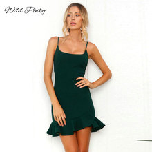 WildPinky Sexy Lace Up Mini Bodycon Dress Sleeveless Wrap Ruffle Green Party Club Summer Ruched Women Vestidos