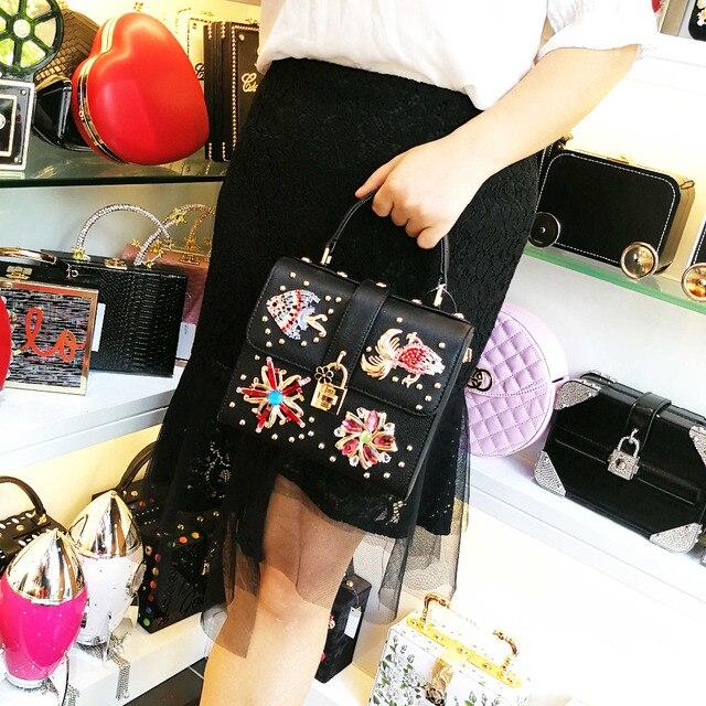 Fashion Black Crystal Flower Animal Strap Handbags Women Lock Box Mini Tote  Bag Ladies Flap Pu Shoulder Bag Female Clutch Bag 8f38d720670e1