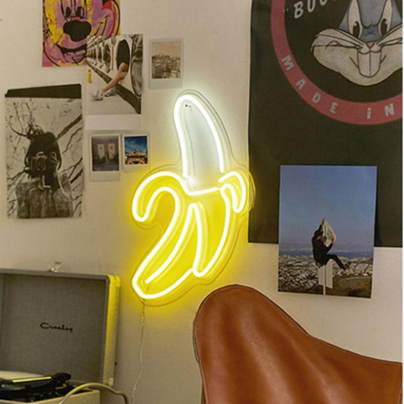 Néon lumière néon panneau nuit lumière USB alimenté INS forme romantique mariage vacances fête décoration fée lampe aile banane