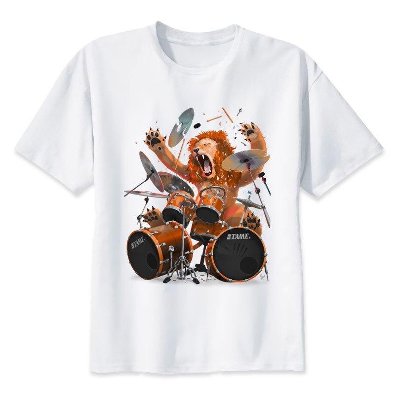 drums t shirt T Shirt men Summer fashion High Quality t-shirt casual white print O-Neck print male men top tees MR4169