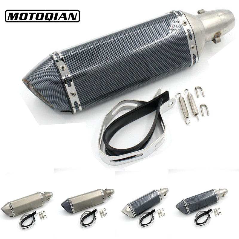 51mm Inlet Universal Motorcycle Scooter Modified Slip Rear Carbon Fiber Exhaust Pipe Muffler For Yamaha NMAX 155 125 Accessories motoo universal new motorcycle carbon fiber exhaust scooter modified exhaust muffler pipe for honda cbr600rr