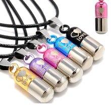 Lnrrabc 1 pc moda quente corda corrente pingente colar metal urna cremação mini lembrança colar feminino jóias de prata salvar o amor
