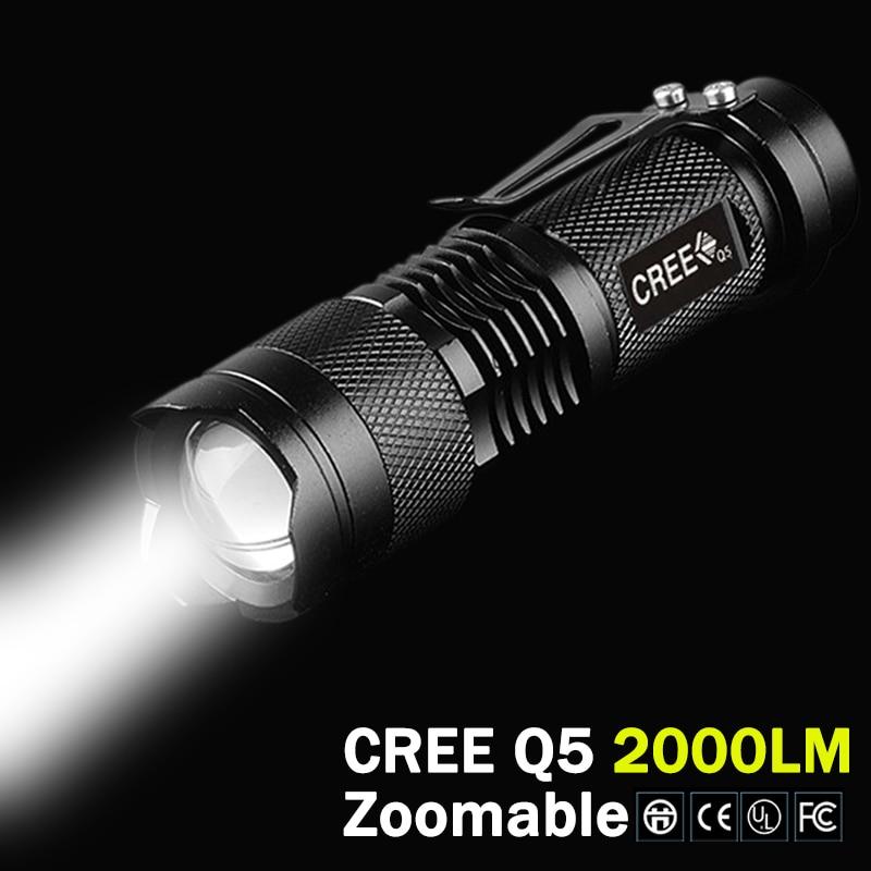 CREE XM-L Q5 2000Lumens Flashlight Lampe Torche Cree led Torch Zoomable Cree Waterproof LED Flashlight Light