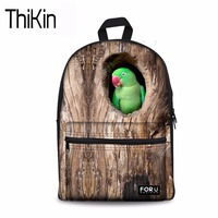THIKIN Women Backpack Animal 3D Funny Parrot Birds Printing Double Shoulder Bags for Teenagers Girls Casual Travel Rucksack New