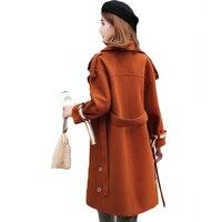 2018 New Spring Autumn Woolen Coat Trench Women Slim Belt Beige Camel Winter Coats Long Outerwear