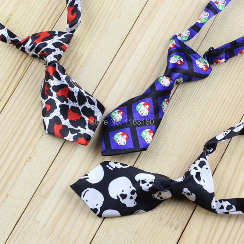 100pcs/lot Colorful  Cute Print Adjustable Pet Decorative Collars Dog Tie Pet Bow Tie Polyester Cat Grooming Necktie