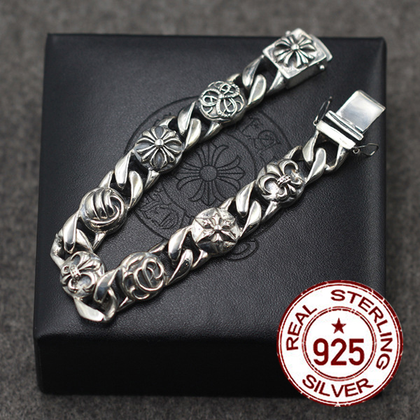 pure silver men s bracelets A combination of male and male punk