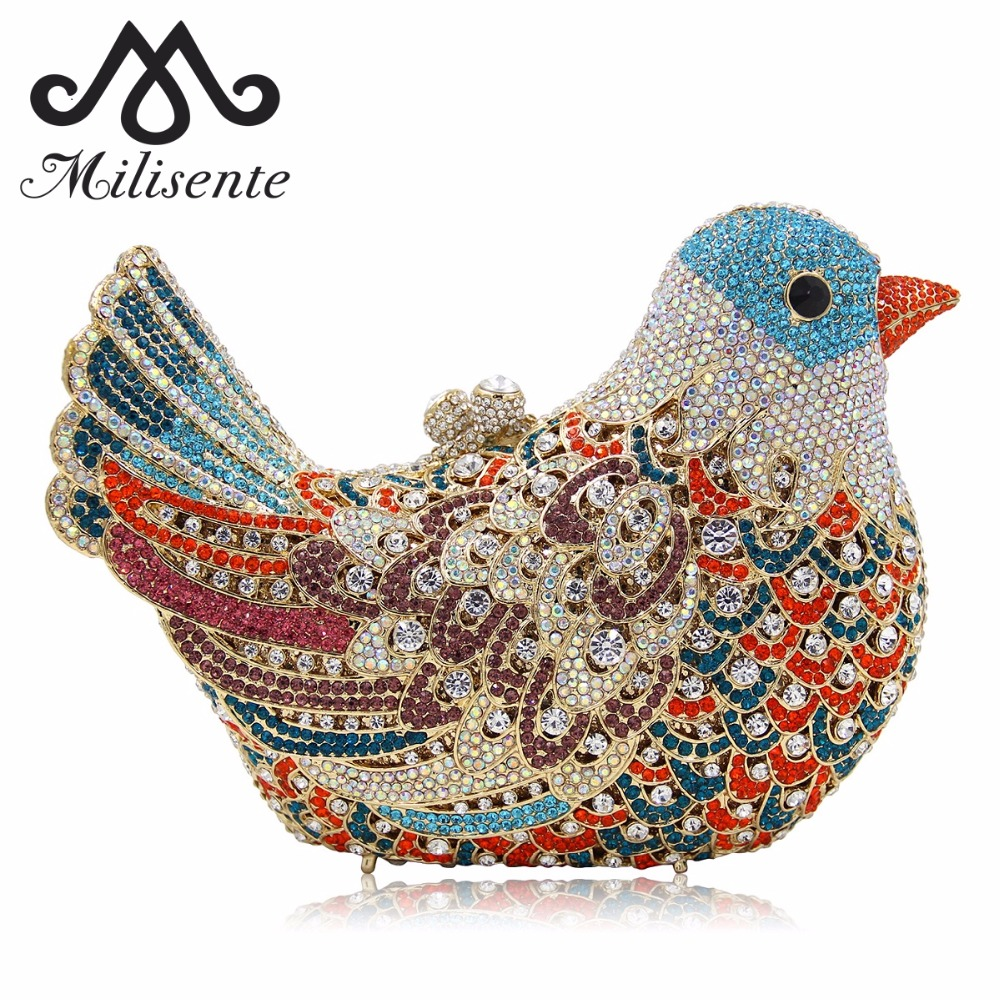 Milisente Women Luxury Crystal Clutches Laides Evening Bag Female Colourful Bird Shape Wedding Clutch Purses colourful bird women evening luxury bags crystal clutches laides evening bag female party hard case bags wedding clutch purses
