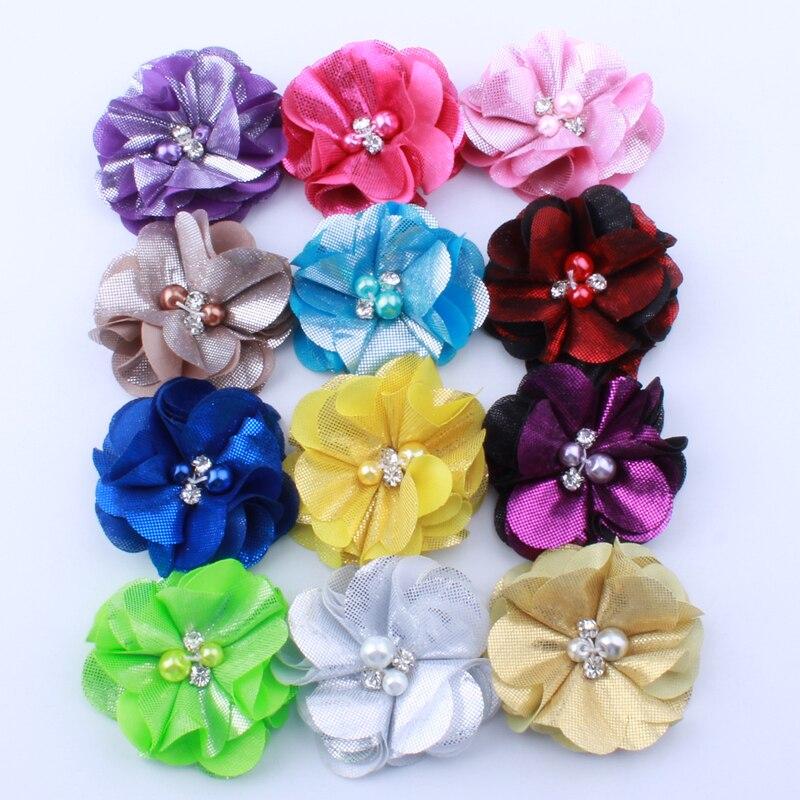 50PCS 4.5 cm Haute Qualité fashion ronde mousseline fleurs pour coiffure ACCESSOIRES