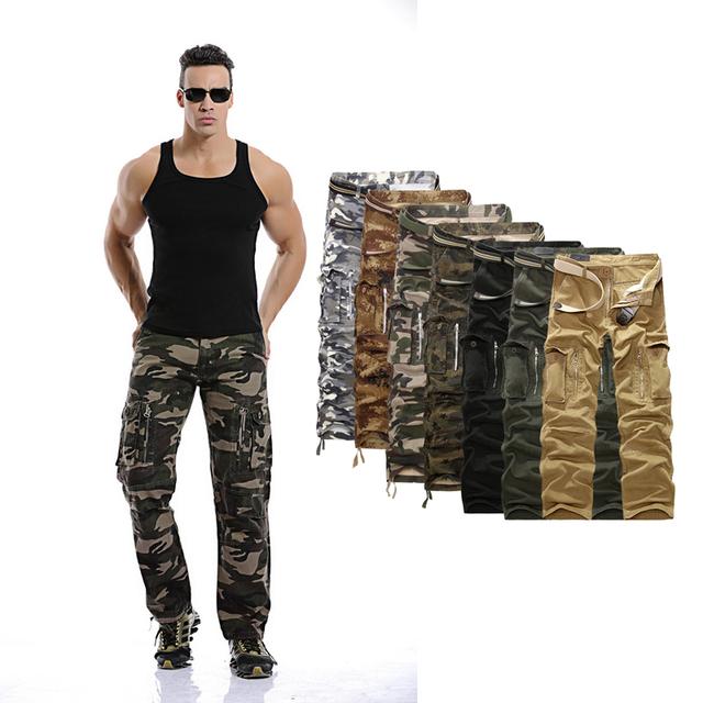 De Carga de alta Calidad Multi Bolsillos Casual Hombres Pantalón de Trabajo Suelto Recto Pantalones Tácticos Pantalones de Camuflaje Del Ejército Para Hombre Más Tamaño