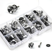 Wholesale 50pcs/lot Universal Guitar Ukulele Strap Locks Nails Metal Buttons + Screws Pads Silver