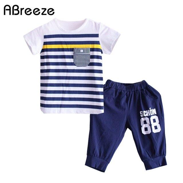 3-10 anos conjuntos de roupas meninos estilo Navy verão 2018 camiseta de  Algodão fino ba308c5eb20c4