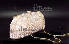 7344-AB Crystal Lady fashion Bridal Metal Evening purse clutch bag handbag