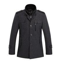 Утолщаются Шерстяные Пальто Куртки Мужчины Манто Homme Пальто Модного Бренда Верхней Одежды Теплый Длинным Рукавом Горох Пальто Стоять Воротник 3XL