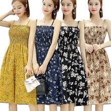 b2b417a7dd97c Kadın Yaz Çiçek Şifon Elbise 2019 Midi Sundress Maxi Elbise Bayanlar Plaj  Elbise Kore Tarzı Baskı