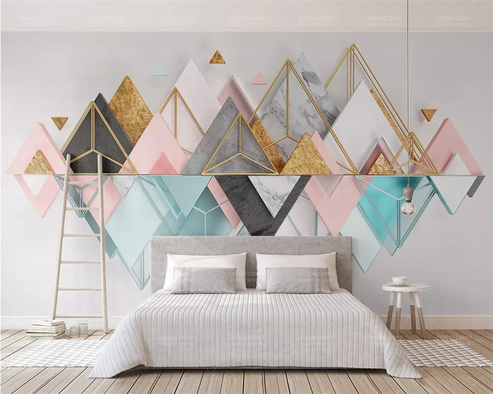 Beibehang Custom 2019 New 3d Three-dimensional Triangular Metal Glass Geometric TV Background Wallpaper Wall Papers Home Decor