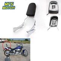 For 01 08 Honda Spirit 750 Motorcycle Skull Flame Rear Steel Metal Backrest Passenger Sissy Bar Cushion Leather Pad Chrome