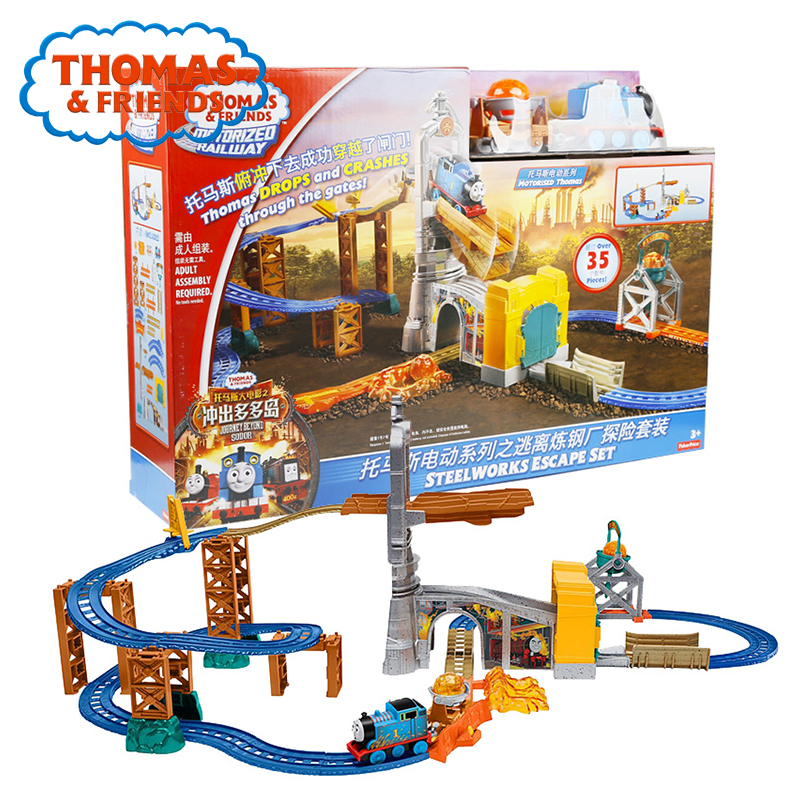 Original Thomas and Friends Electric Series Mini Car Toy Magnetic Matel Train Track Brinquedos Steelworks Escape Set FBK85