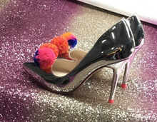 Silver Patent Leather Women Fashion Pom Pom Pumps 2018 Hot Slip On Ladies Party High Heel Mixed Color Balls Female Sexy Stiletto fashion silver mirror leather high heel shoes women pointed toe pom pom cute pumps party shoes woman
