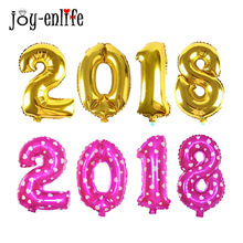 "4pcs 16inch ""2018"" Ballons Foil Ballon Gold/Silver/Blue/Pink Number Balloons Happy New Year Party Decor Celebration Supplies"