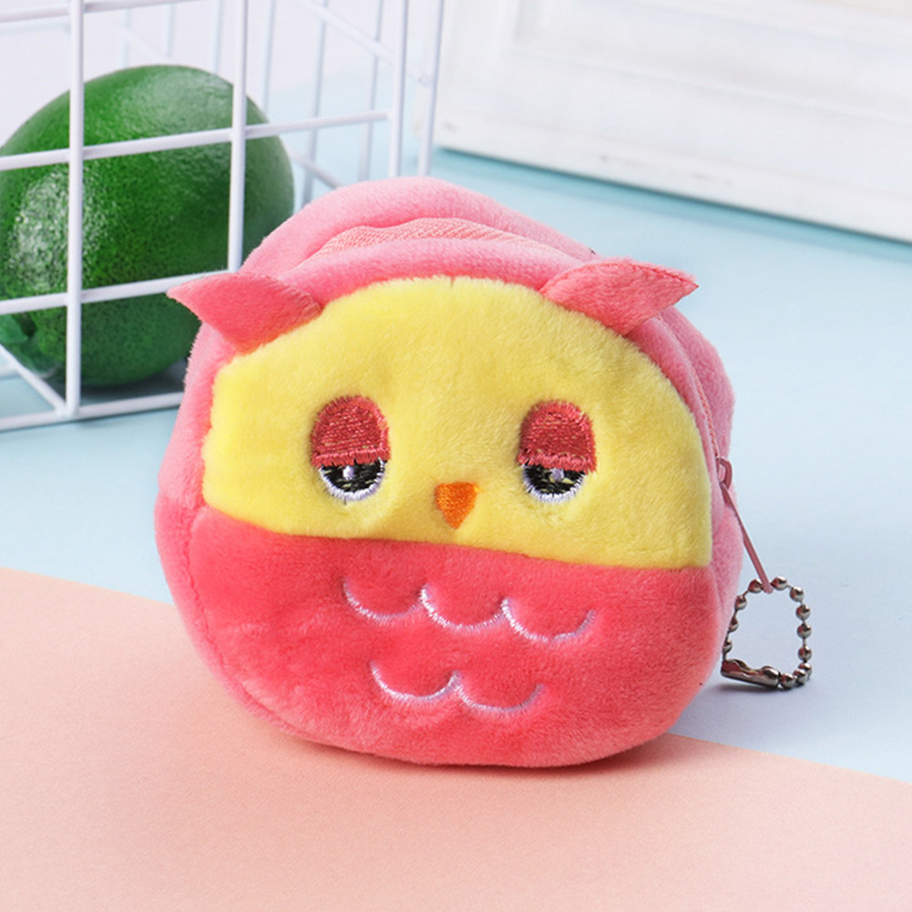 Key Girls Plush Cartoon Mini Soft Large Capacity Stereo Portable Zipper Gift Coin Purse Money Bag Cute(China)