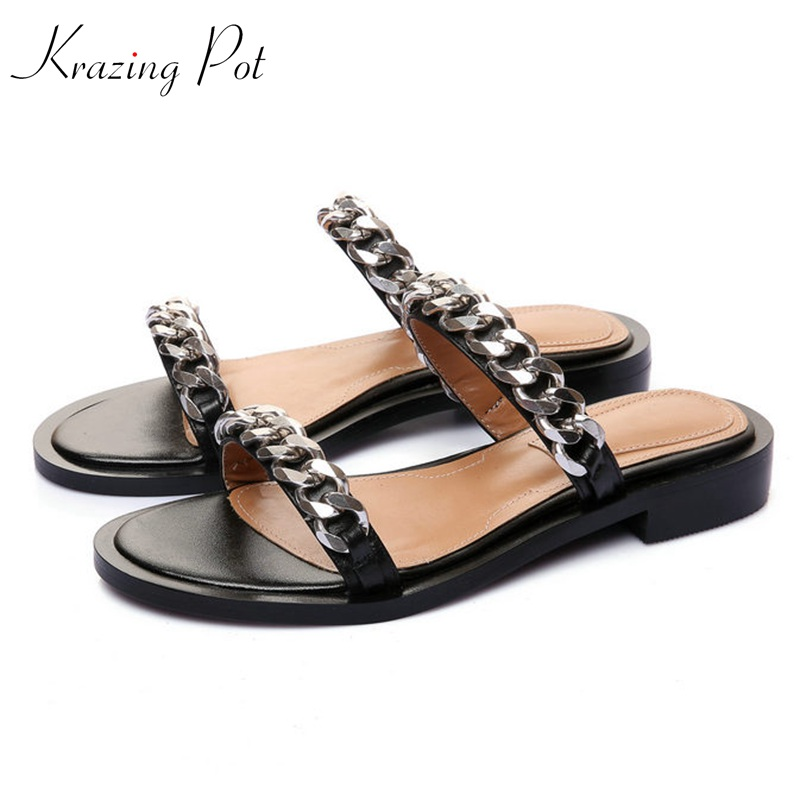 krazing pot shoes women full grain leather mules hollywood peep toe metal chain decorations sandals summer outside slippers L88