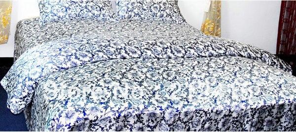 Silk Bedding Set 4pcs Luxurious Mulberry Duvet Cover Flat Sheet Pillowcase Pure Soft Floral Twin Full Queen King Cal.King ls2105
