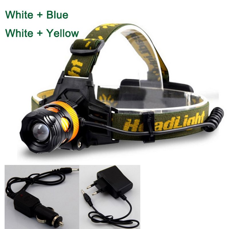 Zoomable Head Light Fishing LED Headlamp 2 LED Headlight Flashlight Torch Head Lamp Waterproof With Charger for Fishing