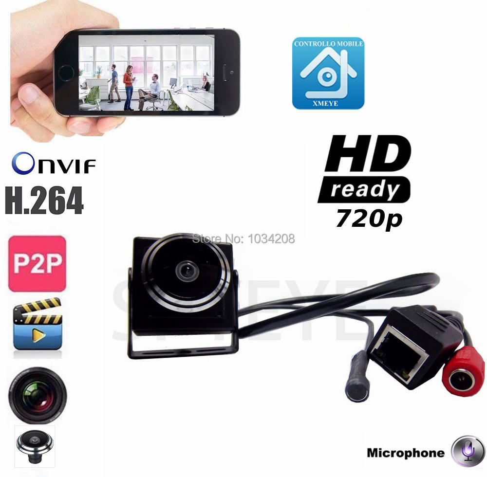 Onvif 720P Mini Camera Mini IP Camera Audio Home Security Pin hole Camera IP Camera P2P Plug And Play For 1.78mm Fisheye Lens