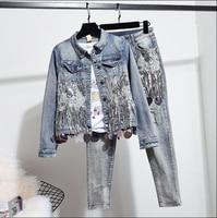 2019 Spring and Autumn Women Fashion Sequins Short Denim Jacket Coat + Hole Jeans Two Piece Student Vintage Denim Set Streetwear