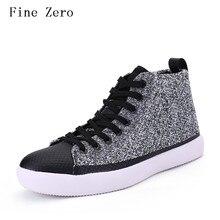 Fine Zero Men Hip Hop Canvas Shoes 2017 Fashion High top Men's Casual Shoes Breathable Canvas Man Lace up Brand Shoes Black