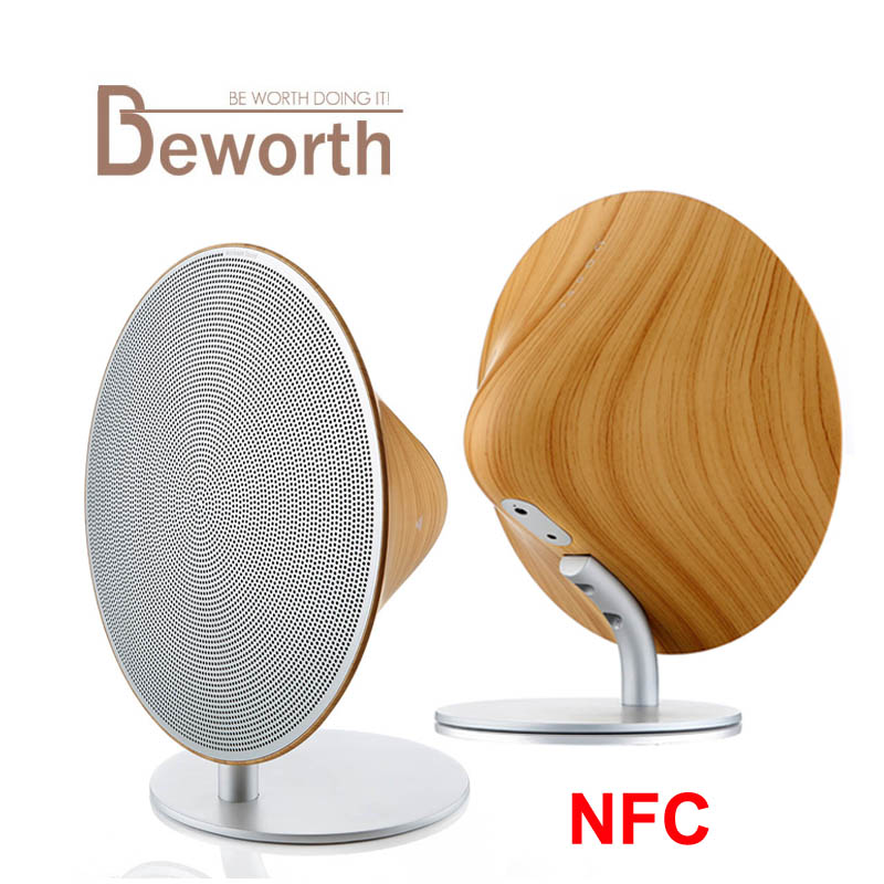 NFC Solo One Wooden Bluetooth Speaker Wireless Sound Box Stereo Hifi Speakers with Touch Button Jack Aluminum 10W Music Player emie solo one wireless speaker subwoofer bluetooth 4 0 nfc 2 0 channel music player with touch surface 3 5mm audio plug