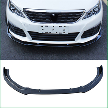 For Peugeot 308 2016-2018 ABS Front Bumper spoiler Protector Plate Lip Body Kit Cover Sticker Trim Decorative strip Car Styling