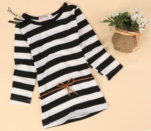 New Kids Girl Cute Long Sleeve O-Neck Striped Children Casual Dress 2-6Y