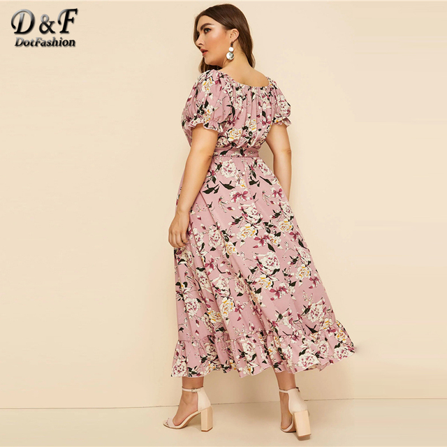 Dotfashion Plus Size Floral Print Puff Sleeve A Line Dress Women 2019 Summer Short Sleeve Ruffle Hem Dresses Ladies Belted Dress 1
